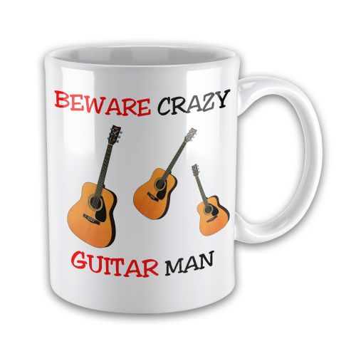 Beware Crazy Guitar Man Funny Novelty Gift Mug